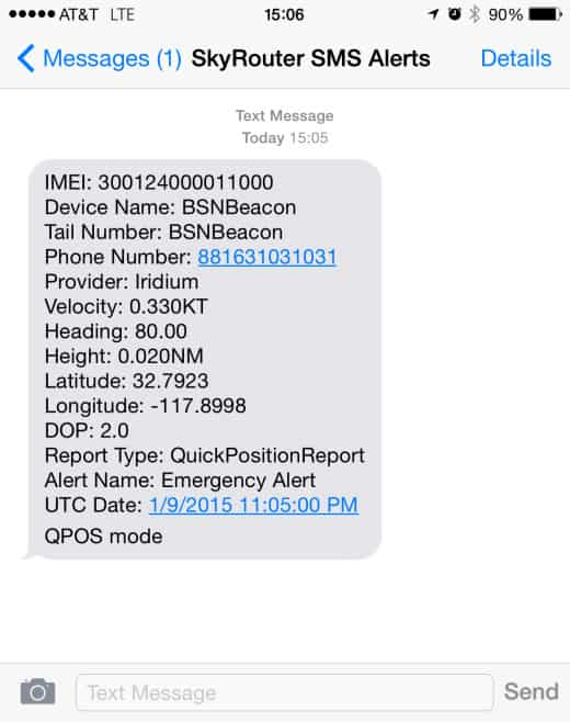 SMS Alerts page