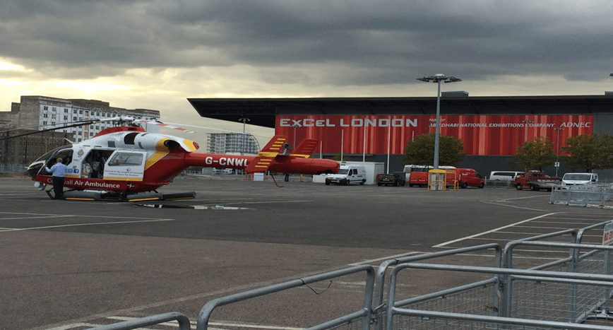 air ambulance at Helitech 2015 in London
