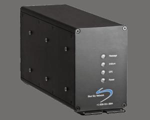 black modem unit with indicator lights on front