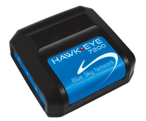 small black tracking device with blue label