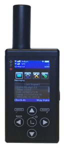 handheld tracking device with screen and arrow buttons