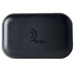 black rectangular antenna with logo on front
