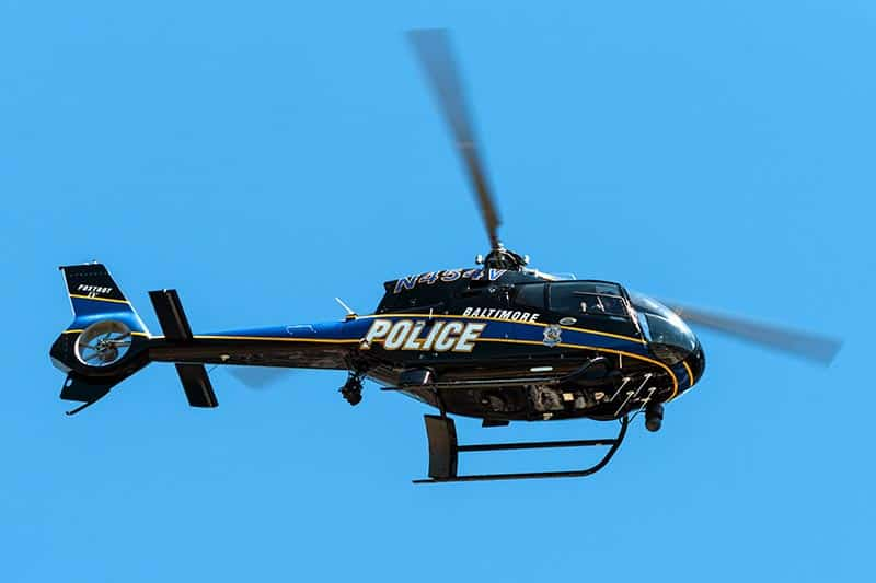 image of a black baltimore police helicopter