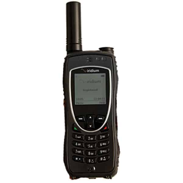 a black satellite phone with an iridium logo on the screen