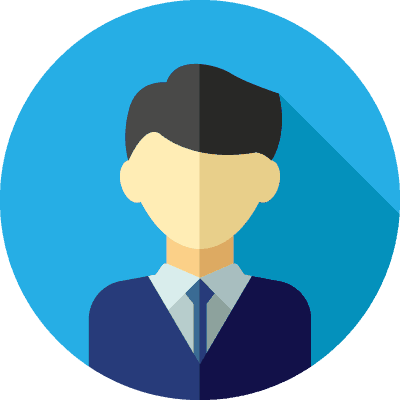 clip art of a man wearing a suit with a blue circle background