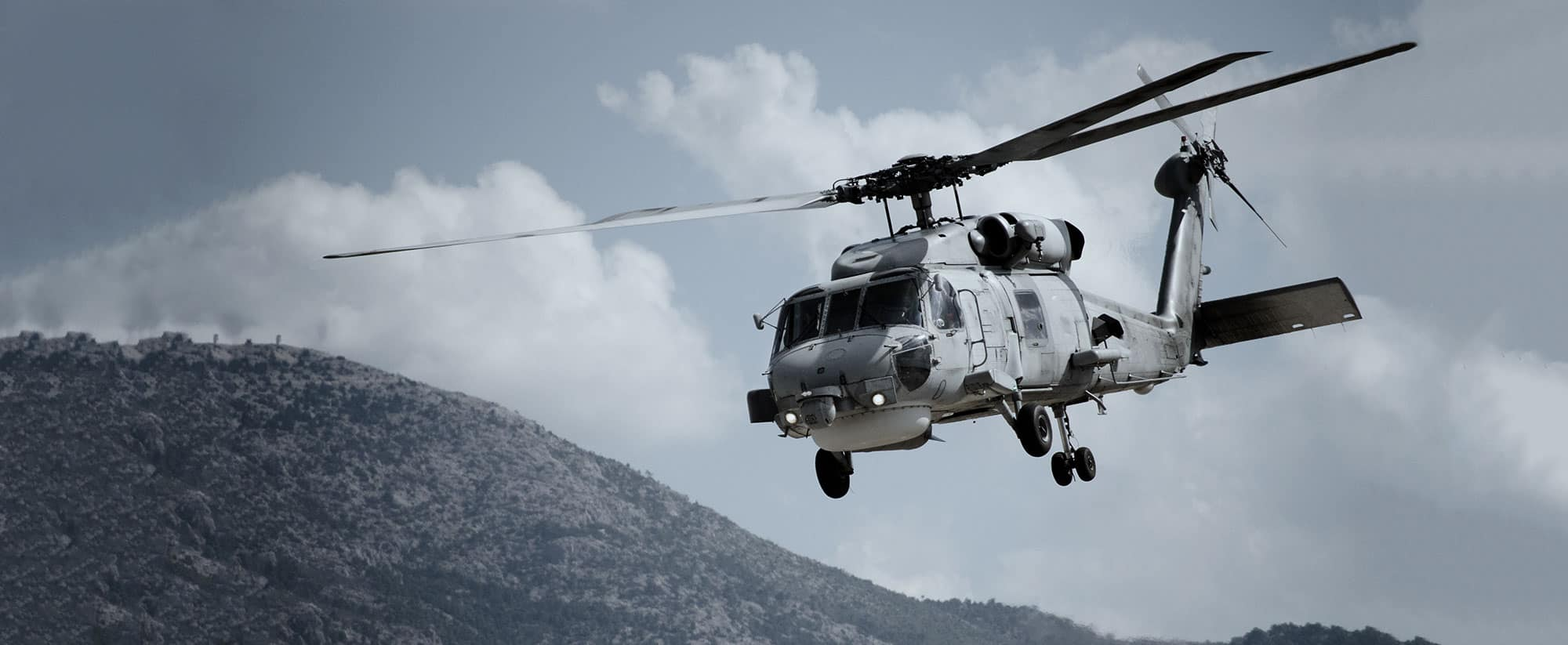 military helicopter with blue force tracker asset tracking