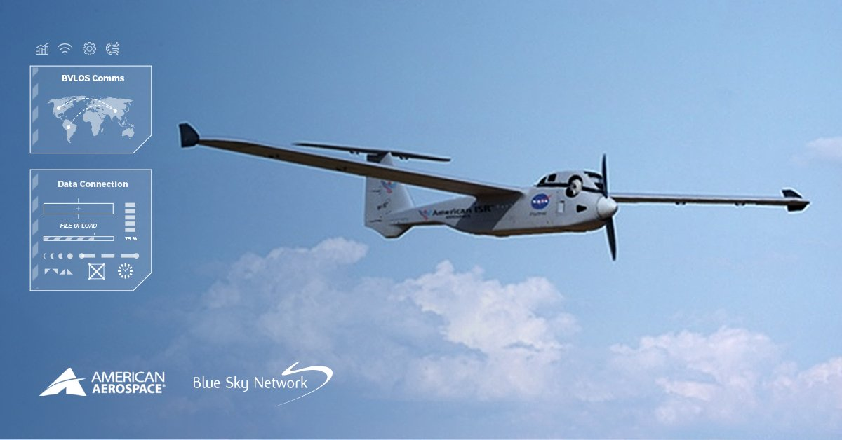 UAV Flying in a Blue Sky with Clouds in the Background